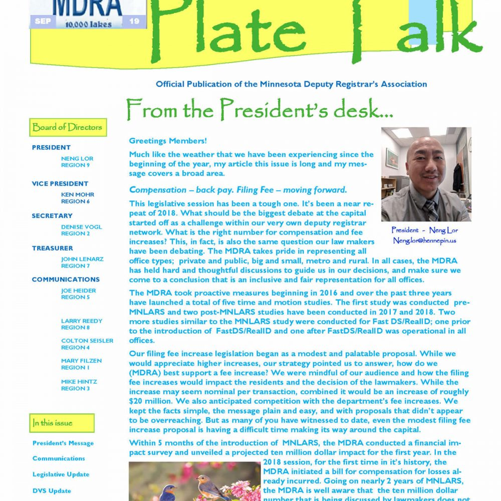 Plate Talk May 2019 Edition