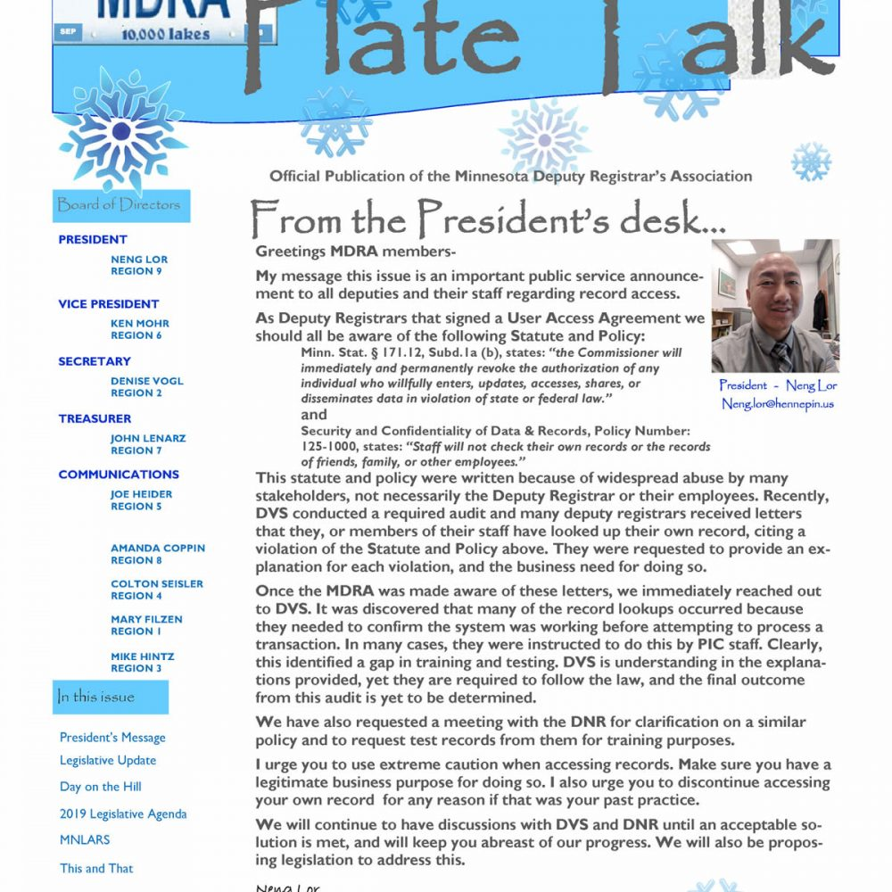 Plate Talk January 2019 Edition