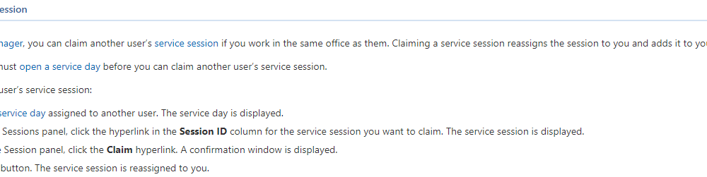Claiming an Open Service Session