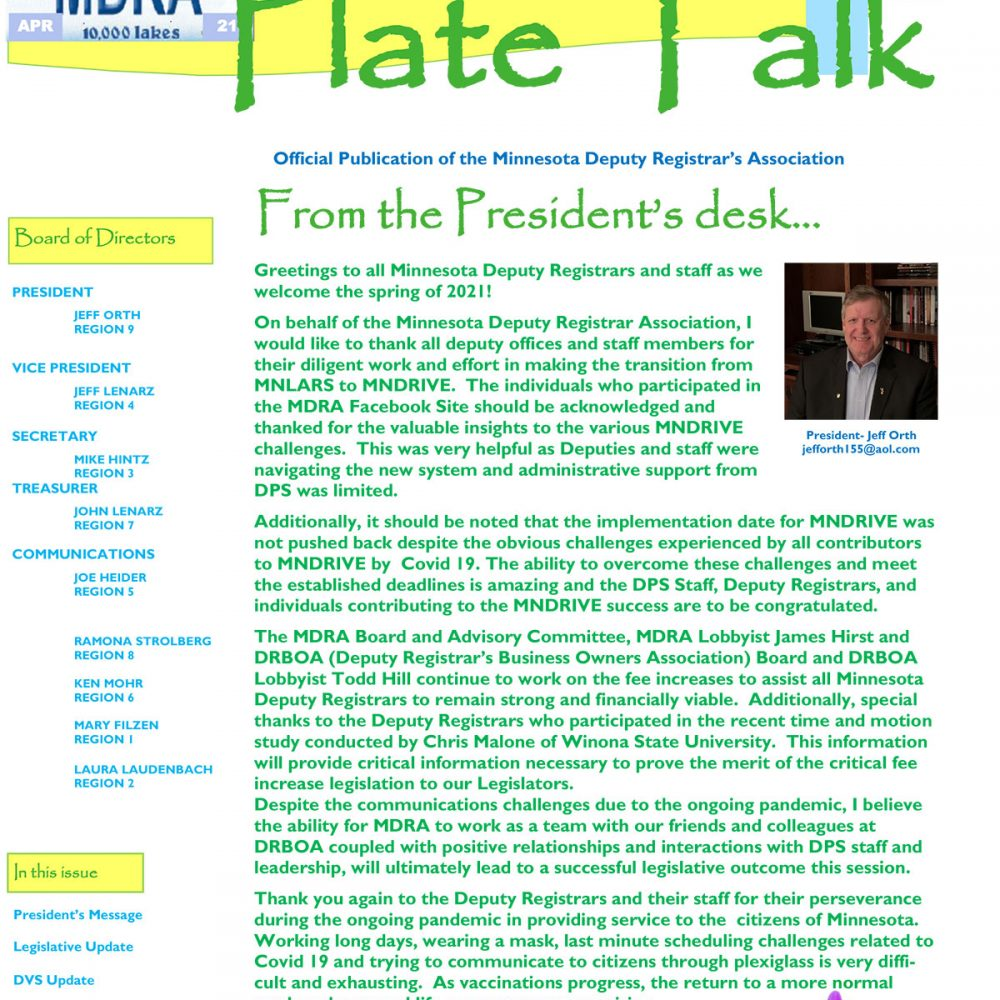 Plate Talk April 2021 Edition
